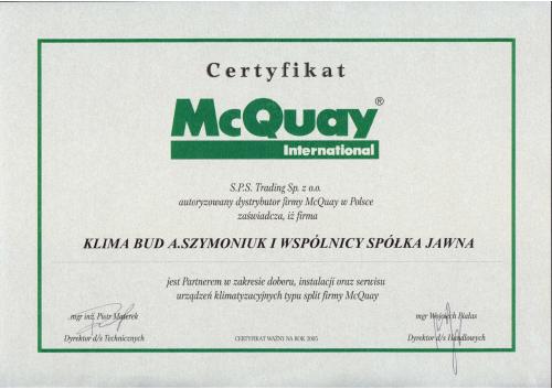 CERTYFIKAT McQUAY-1