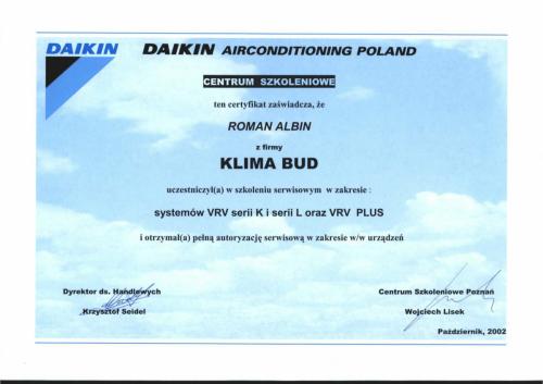 CERTYFIKAT ALBIN ROMAN SYSTEMY VRV II-1