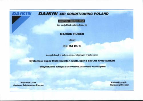 CERTYFIKAT HUBER MARCIN SUPERMULTI INWERTER MULTI SPLIT SKY AIR-1