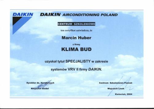 CERTYFIKAT HUBER MARCIN SYSTEMY VRV II-1