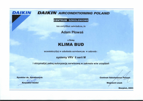 CERTYFIKAT PLOWAS ADAM SYSTEMY VRV II-1