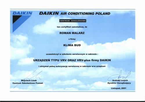 CERTYFIKAT ROMAN MALARZ SYSTEM+ôW VRV VRV PLUS-1